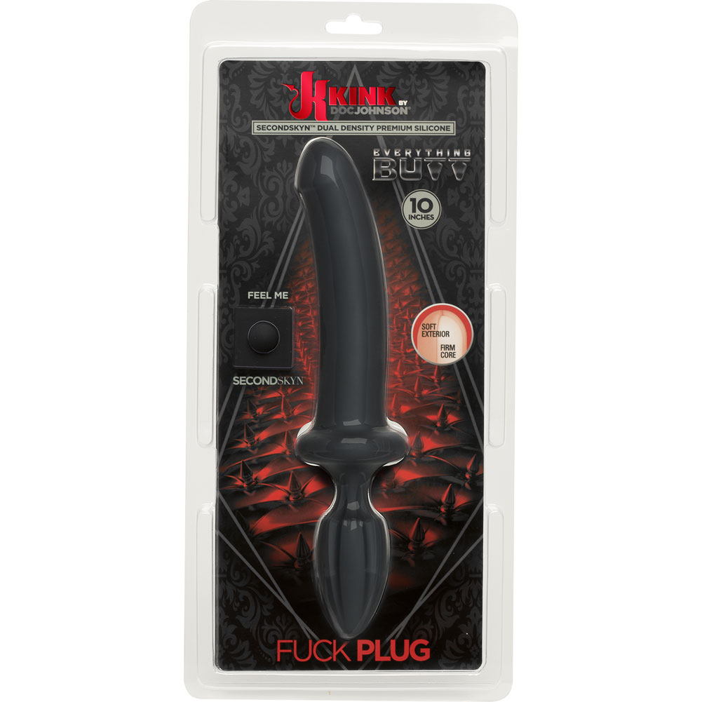 "KINK Dual Density SecondSkyn Fuck Plug 10"" Black - View #1"