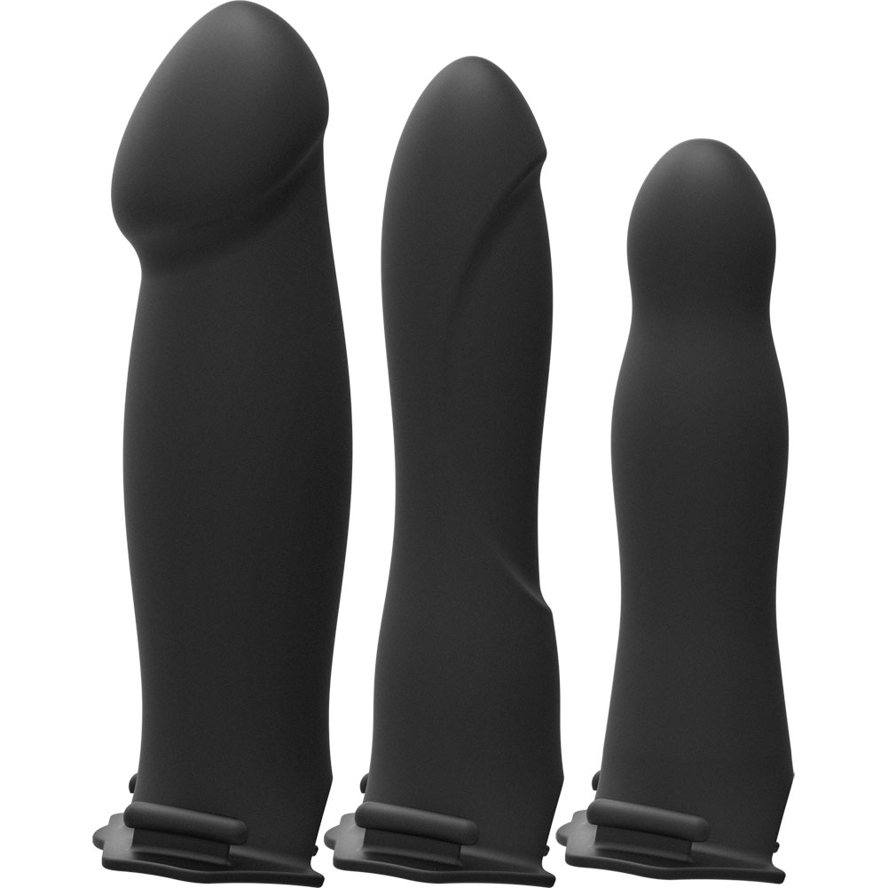 Doc Johnson Be Naughty Body Extensions Vibrating Hollow Strap-On Set Black - View #3
