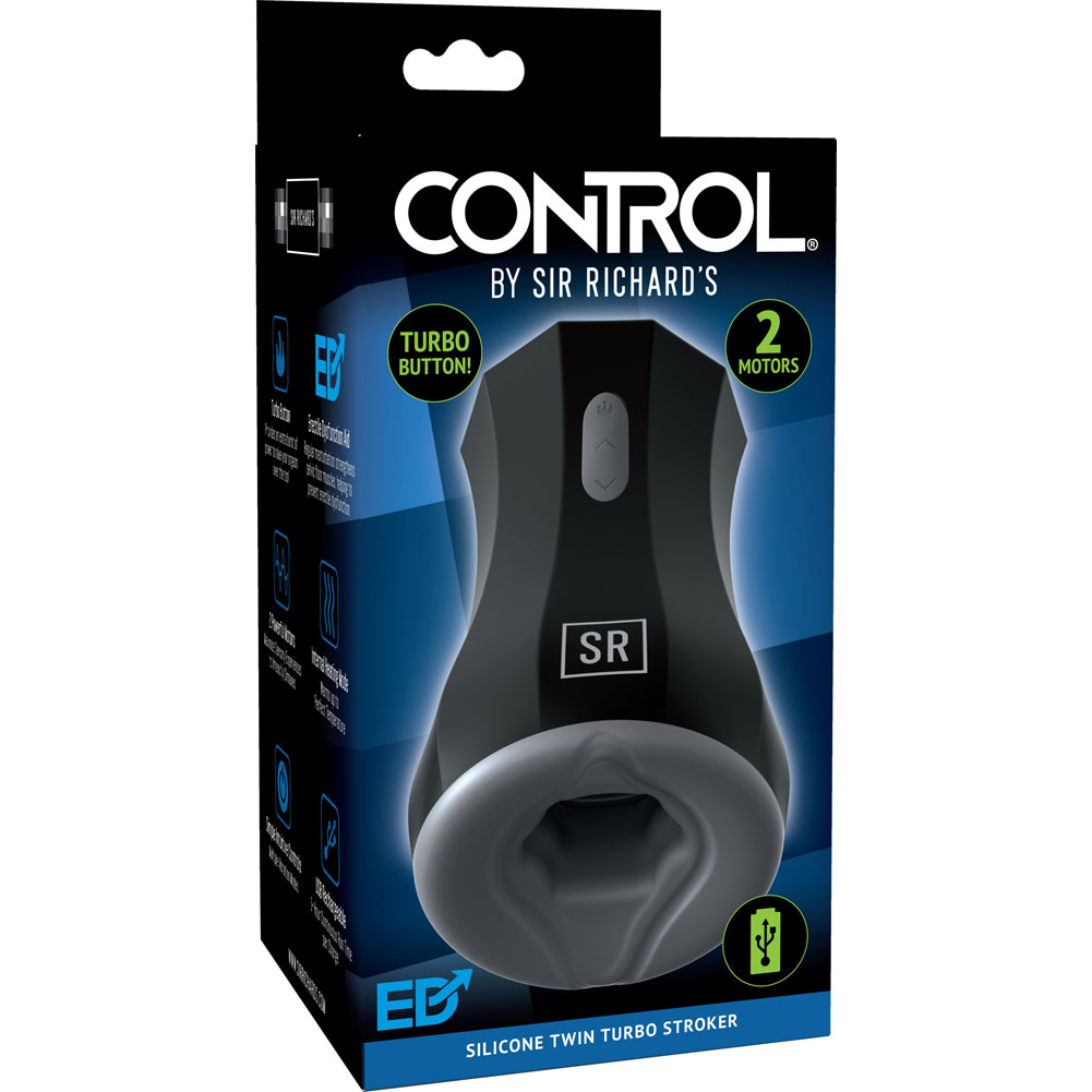 CONTROL by Sir Richards USB Heating Twin Turbo Stroker Black - View #1