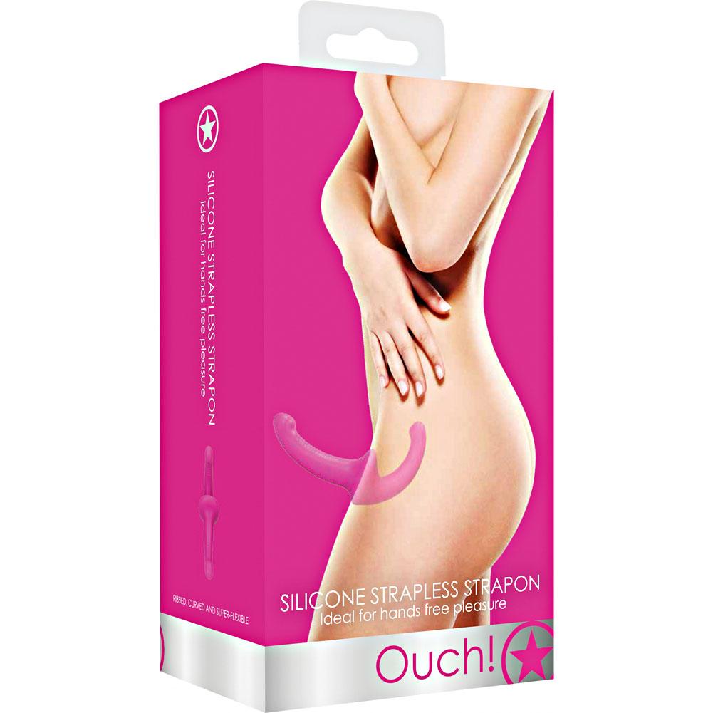 "Ouch Silicone Strapless Strap-On 8.75"" Candy Pink - View #4"