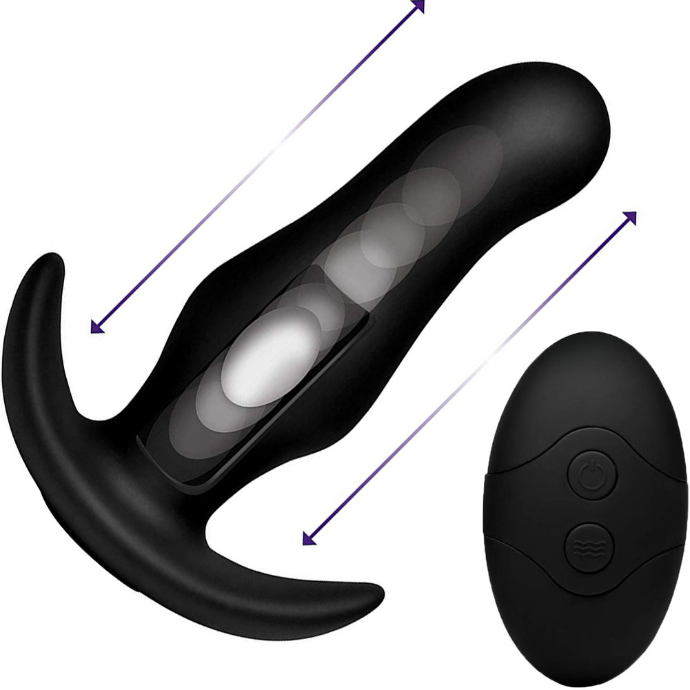 """Kinetic Thumping 7X Prostate Anal Plug with Remote Control 5.25"""" Black - View #2"""