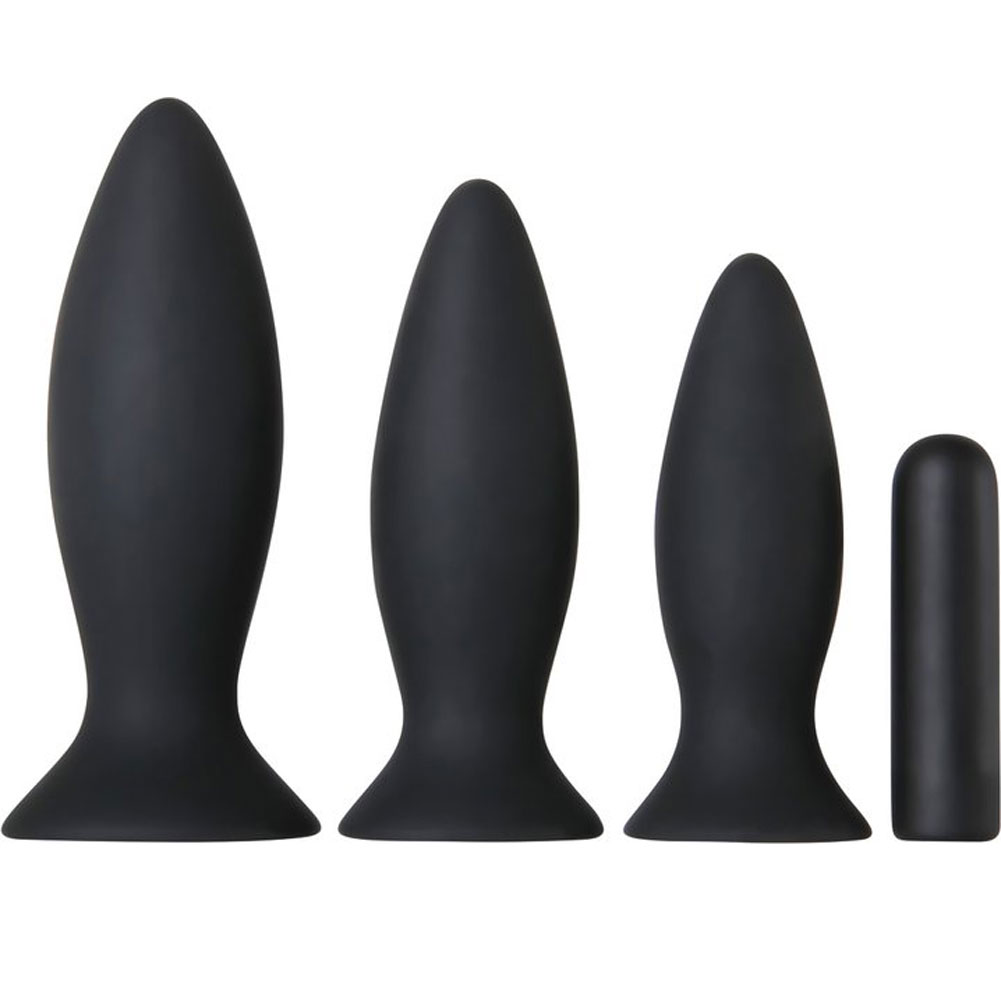 Adam and Eve Rechargeable Vibrating Anal Training Kit Black - View #2