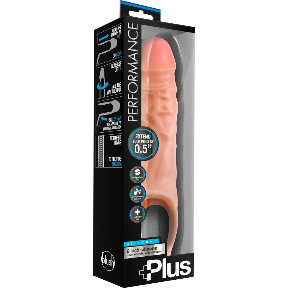 """Performance Plus 0.5"""" Extra Length Penis Extension with Ball Strap 9"""" Vanilla - View #3"""