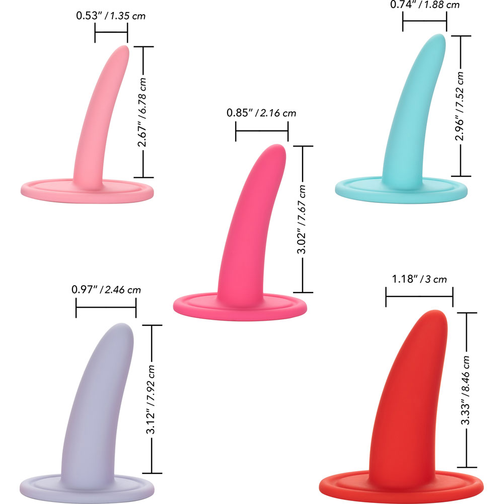 She-Ology 5 Piece Wearable Silicone Vaginal Dilator Set Assorted Colors - View #1