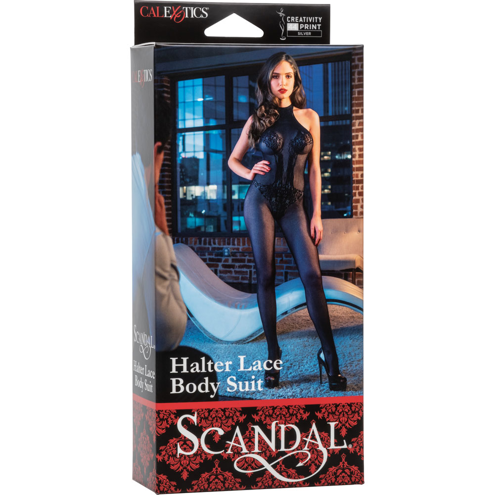 Scandal Halter Lace Body Suit Black - View #4
