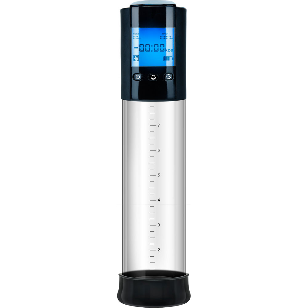 """Performance VX10 Automatic Smart Penis Pump 8"""" by 2.4"""" Clear/Black - View #2"""
