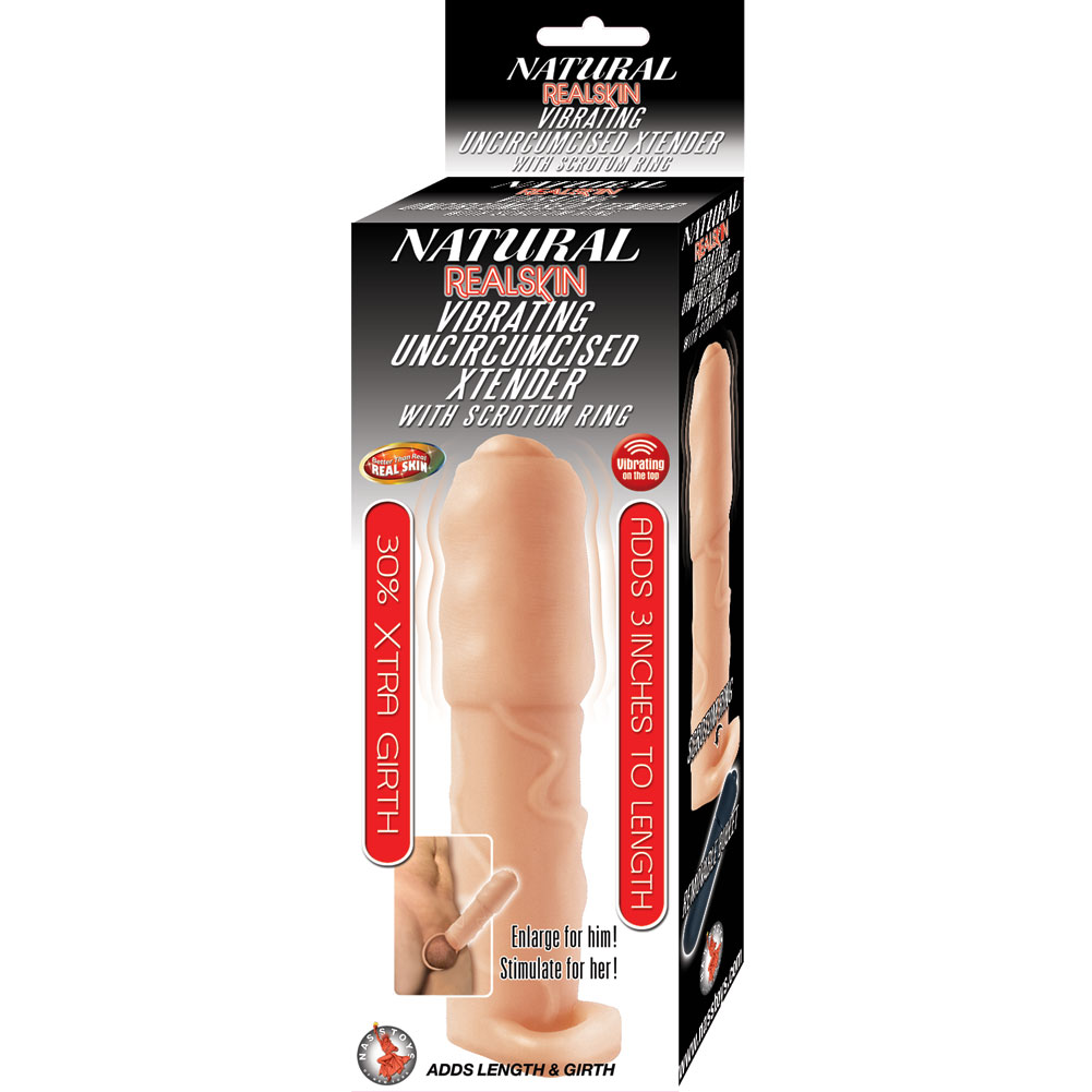 """3"""" Extra Length Realskin Vibrating Uncircumsised Xtender with Scrotum Ring Flesh - View #1"""