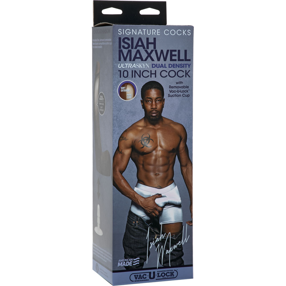 """Signature Cocks Isiah Maxwell UltraSkyn Cock with Removable Vac-U-Lock Suction Cup 10"""" Ebony - View #3"""