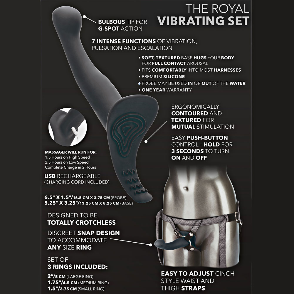 """Her Royal Harness the Royal Vibrating Set with Vibrating ME2 Probe 6.5"""" Gray - View #1"""