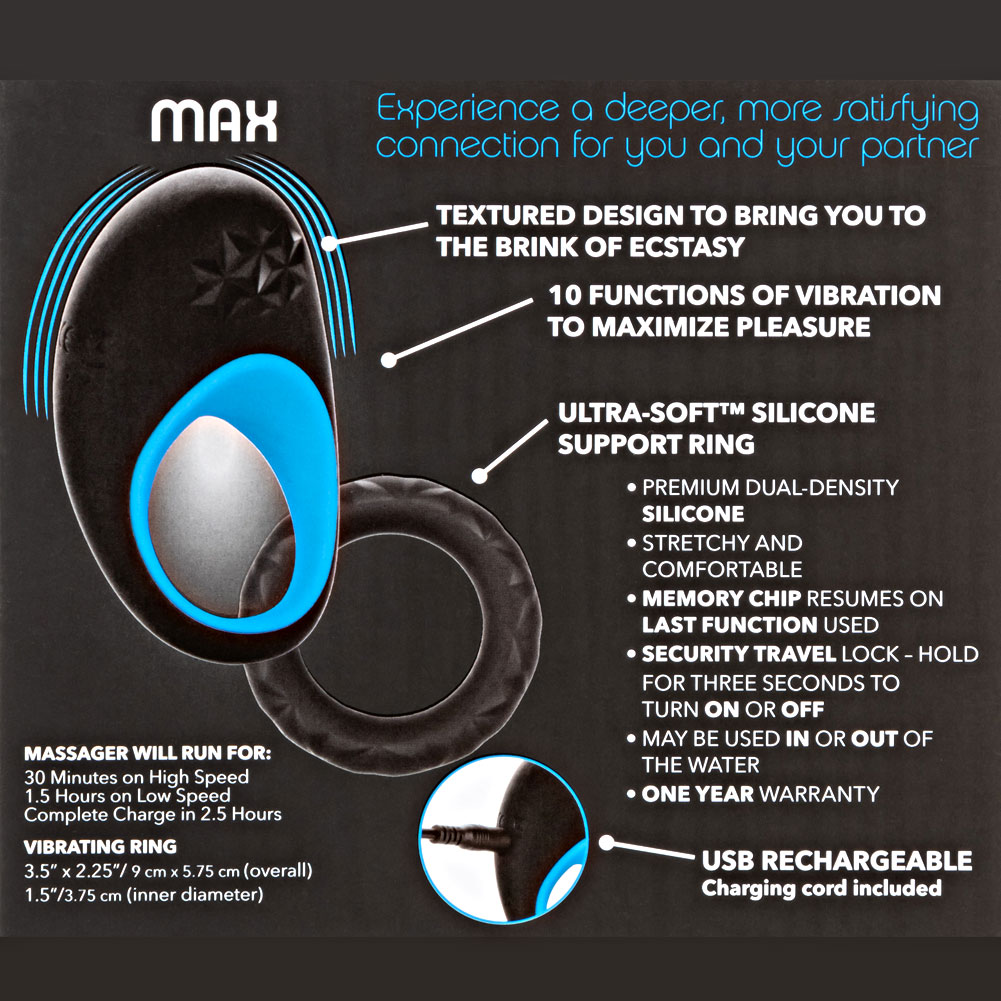 "Link Up Max Dual Stimulating Vibrating Silicone Cockring 3.5"" Black/Blue - View #1"