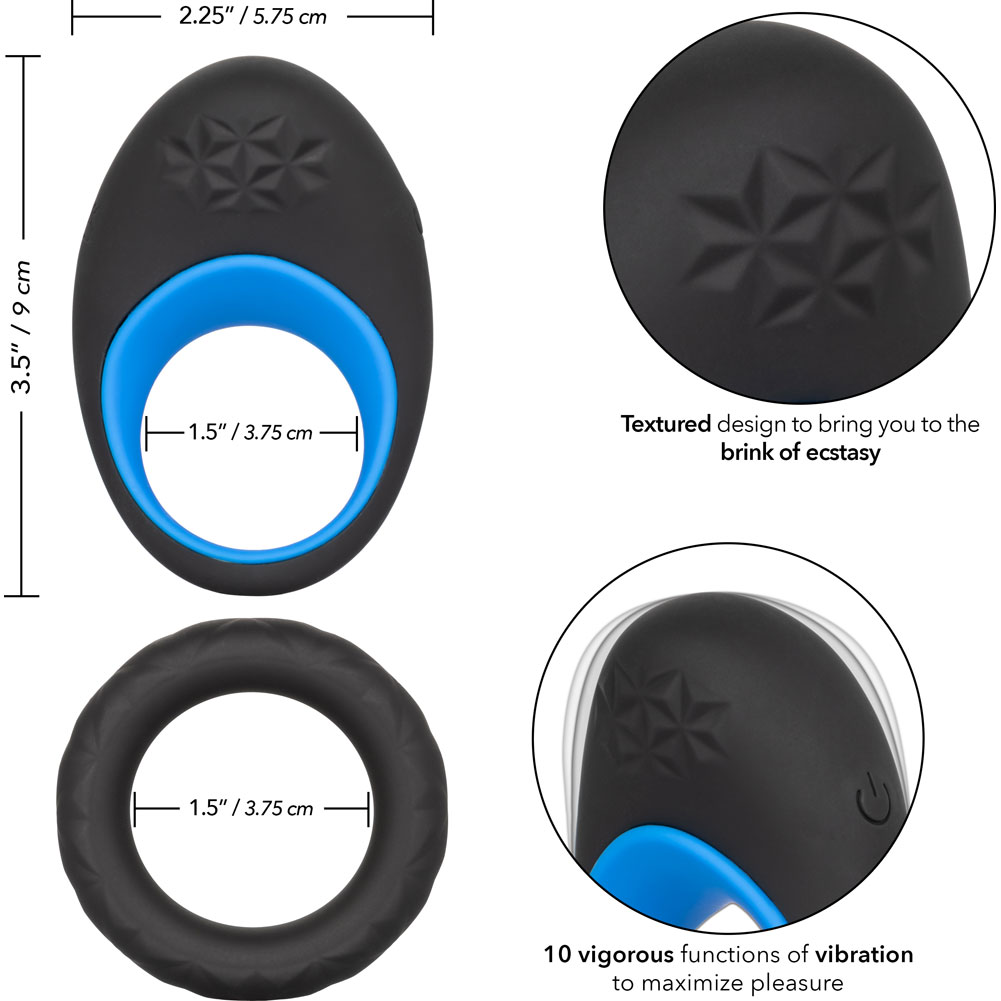 "Link Up Max Dual Stimulating Vibrating Silicone Cockring 3.5"" Black/Blue - View #3"
