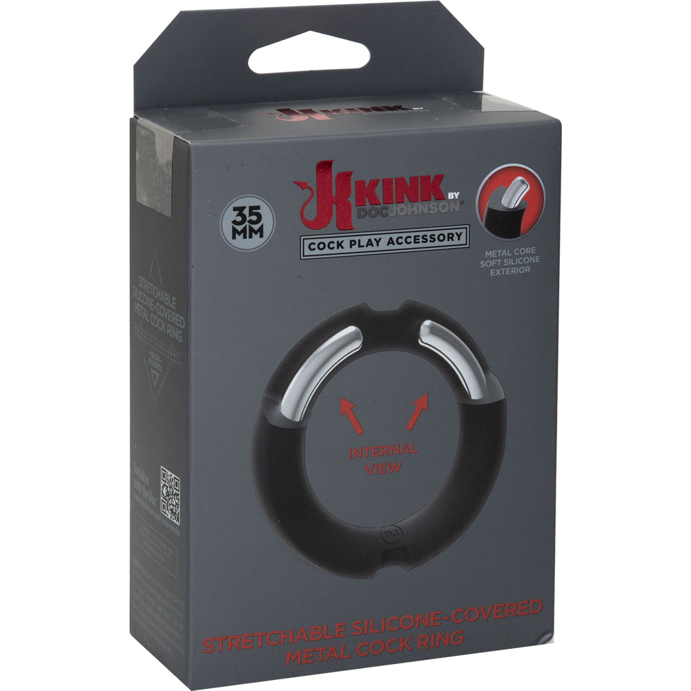 """Kink By Doc Johnson HYBRID Silicone Covered Metal Cockring 1.375"""" Black - View #1"""