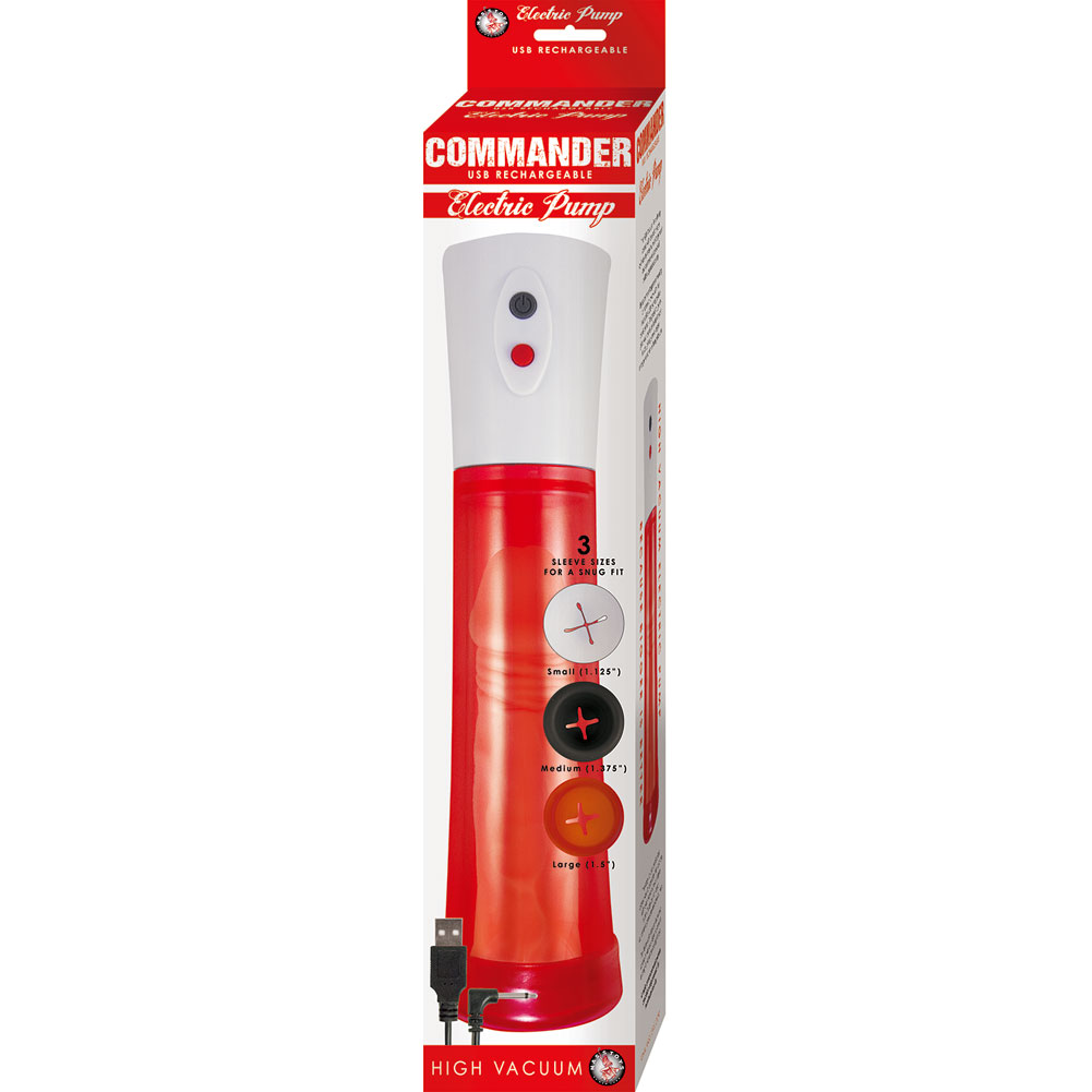 """Commander Rechargeable Electric Penis Pump 11.5"""" by 2.75"""" Red - View #3"""