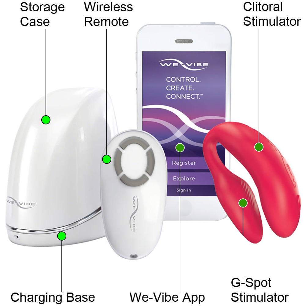 We-Vibe 4 PLUS Wireless Remote Silicone Couples Vibrator with App Control Red - View #1